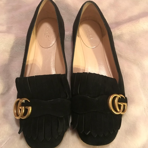 87a16bfbeea38 Gucci Shoes - Gucci GG Marmont Fringe Flat Size 37!